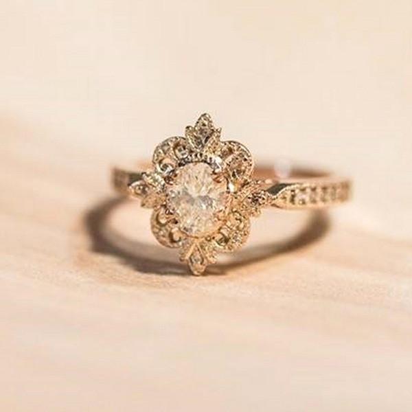vintage floral wedding engagement ring