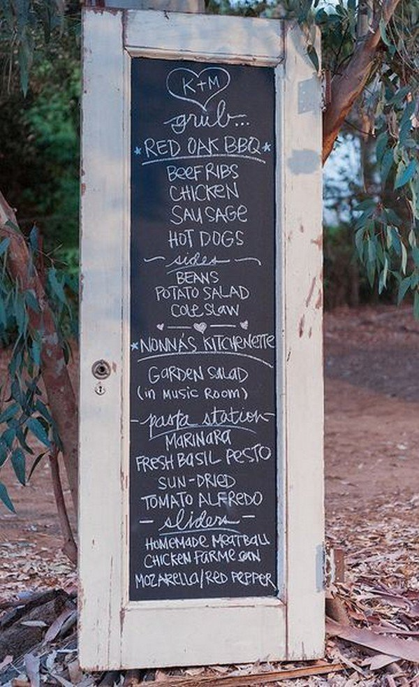 vintage old door chalkboard wedding sign ideas