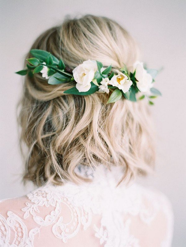wedding hairstyles for short hair with flower crown
