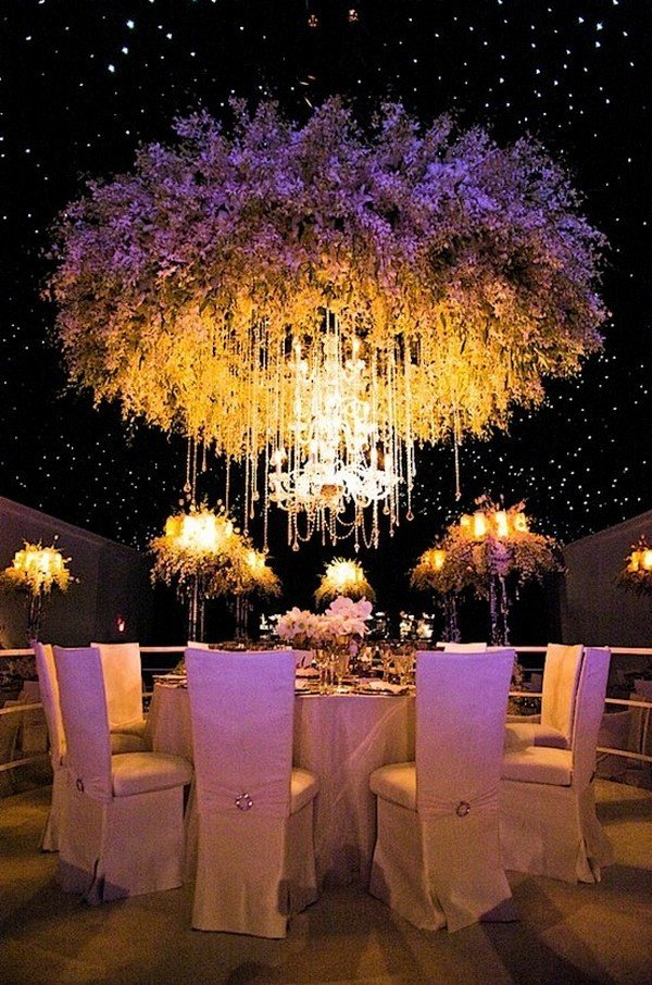whimsical flower ceiling wedding reception decorations