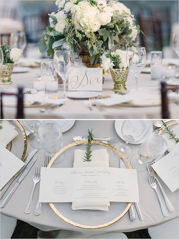 white green and gold elegant wedding table setting ideas