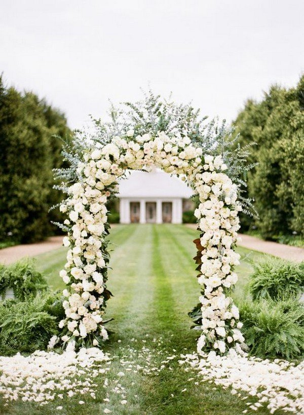 Elegant White Rose Wedding Ceremony Arch