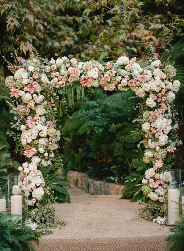 Floral rose and hydrangea wedding arch