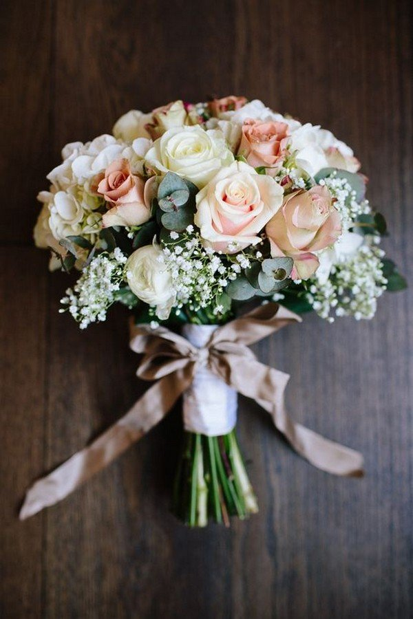 Rose Gypsophila White Blush Wedding Bouquet