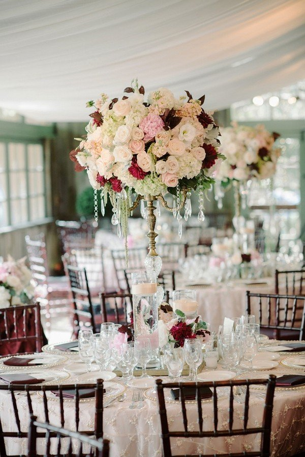 blush and burgundy tall wedding centerpiece ideas