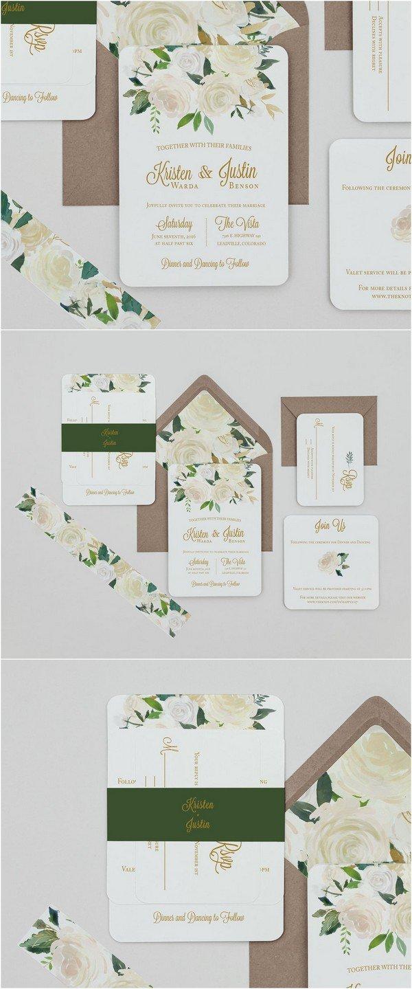 boho chic floral wedding invitations