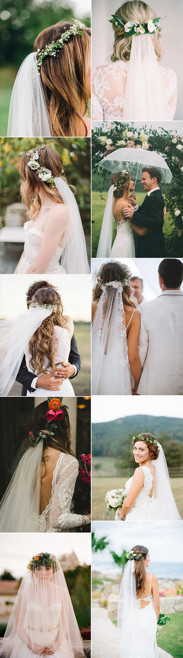 bridal hairstyle look with flower crown and veils
