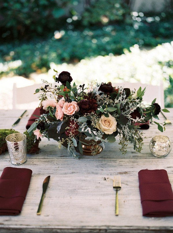 burgundy and blush fall wedding centerpiece ideas