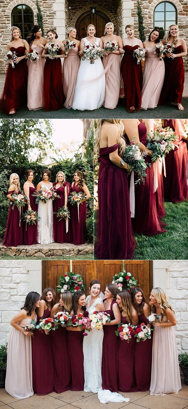 burgundy and blush mismatched tulle bridesmaid dresses