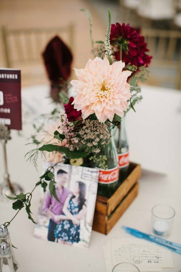 chic blush and burgundy wedding centerpiece