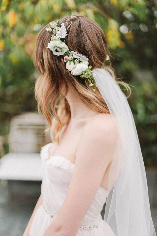 chic medium length wedding hairstyle with veil and crown