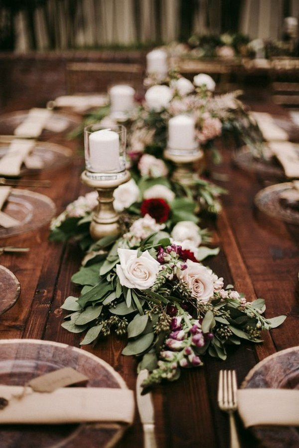 chic rustic blush and burgundy wedding table settings