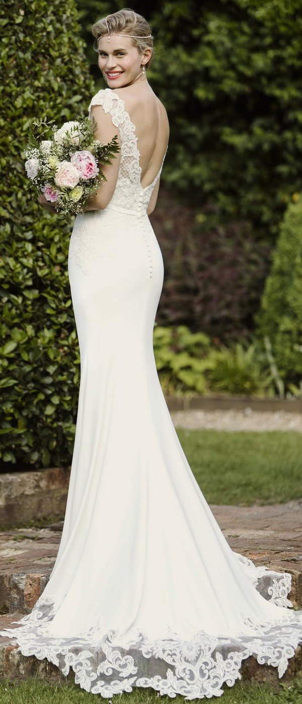 elegant v neck bridal gown from true bride W275 back view