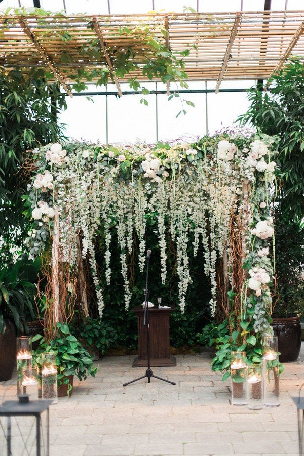 greenery floral wall wedding backdrop ideas