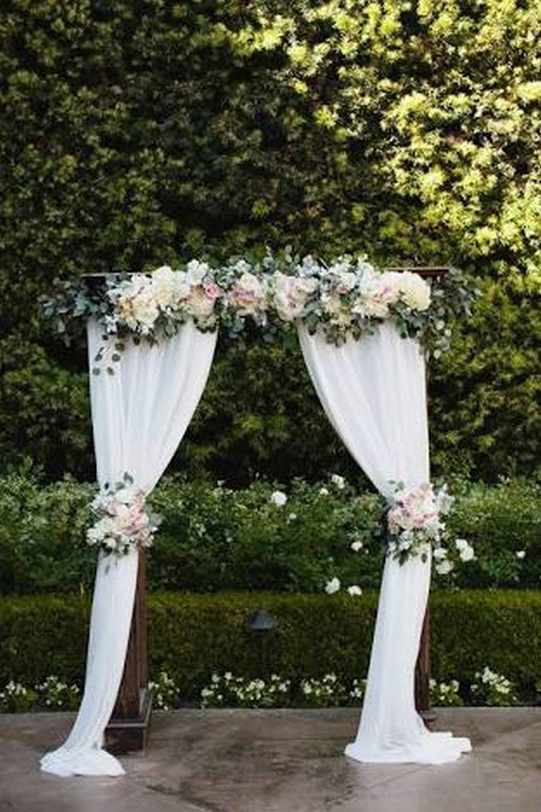 outdoor wedding arch ideas with chiffon and floral