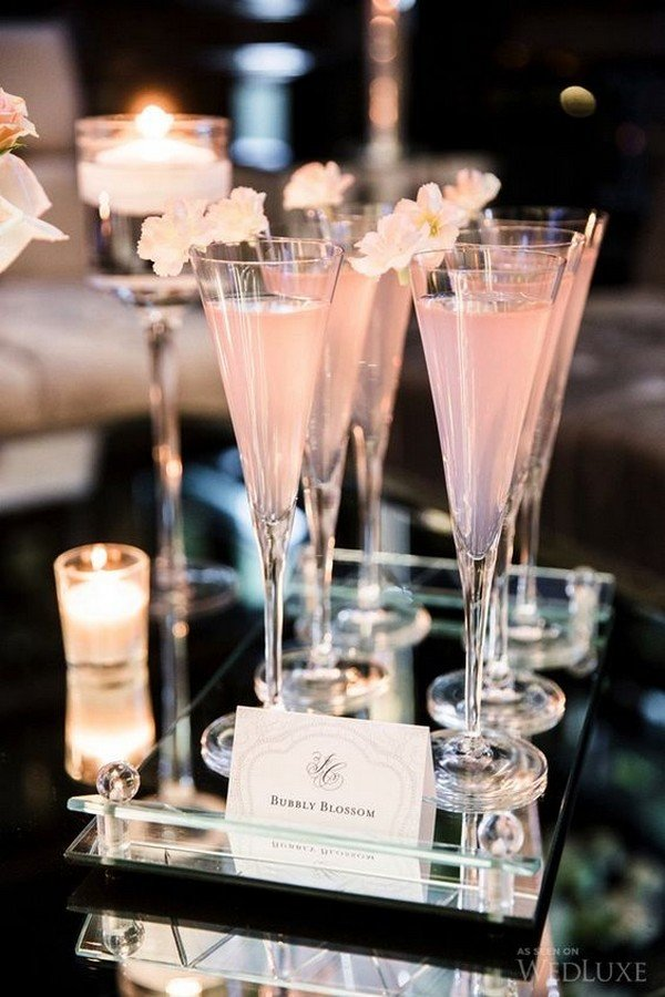 pink wedding signature cocktail drink