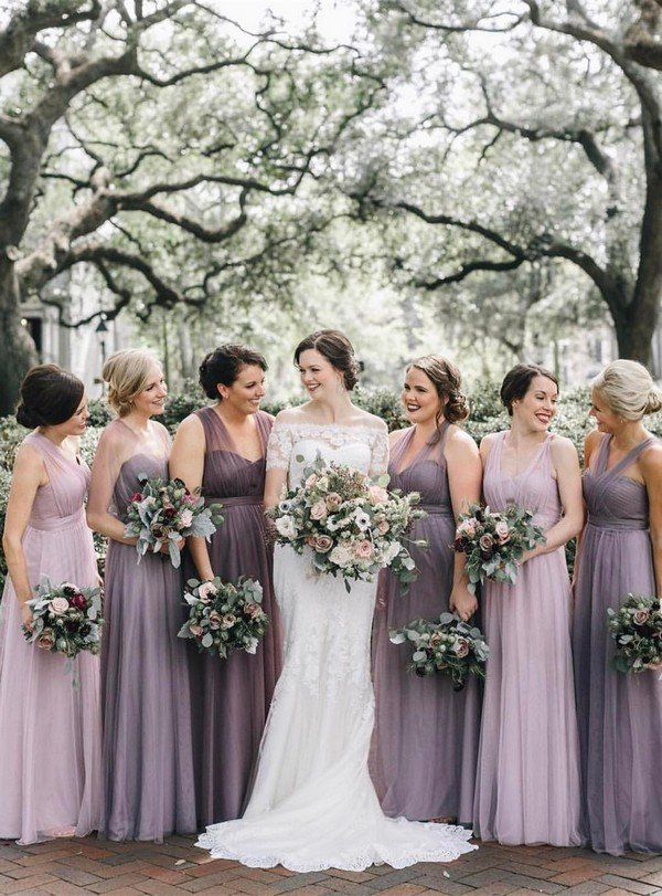 Shades Of Purple Mismatched Tulle Bridesmaid Dresses