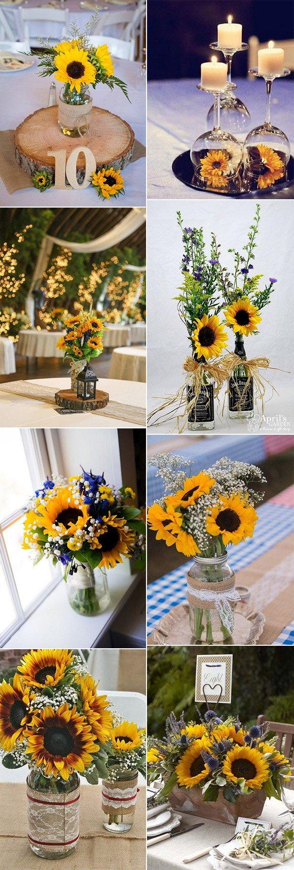 sunflowers themed wedding centerpiece ideas