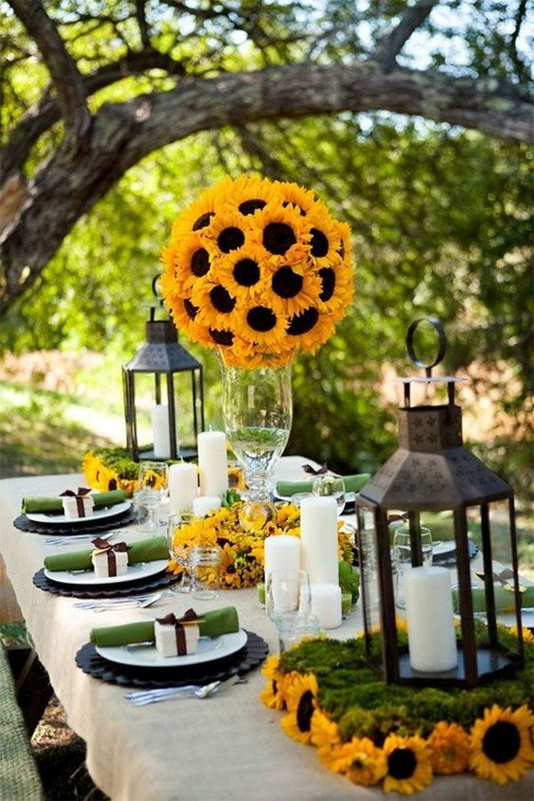 tall sunflower wedding centerpiece ideas