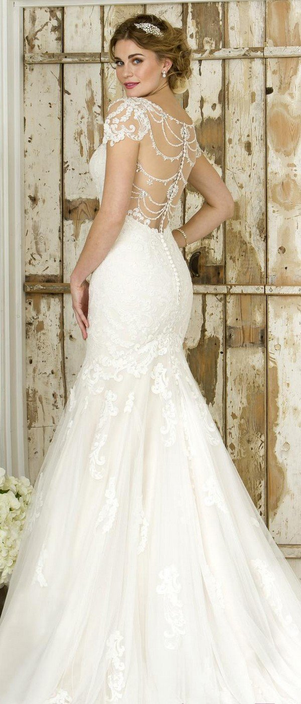true bride lace wedding dress W244 back view