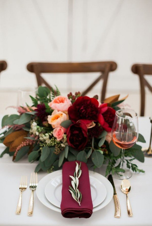 wedding centerpiece ideas blush and burgundy