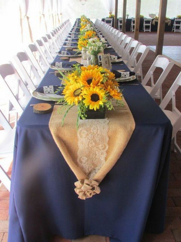 wedding reception decoration ideas with sunflower centerpieces