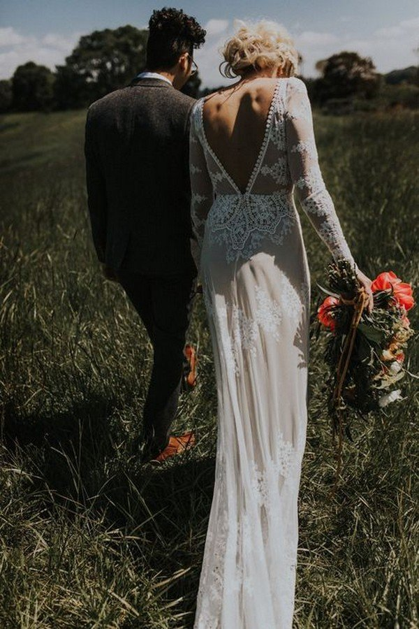 boho lace wedding dress with low v back
