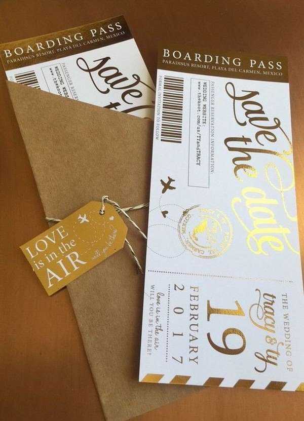 travel themed boarding pass wedding invitations