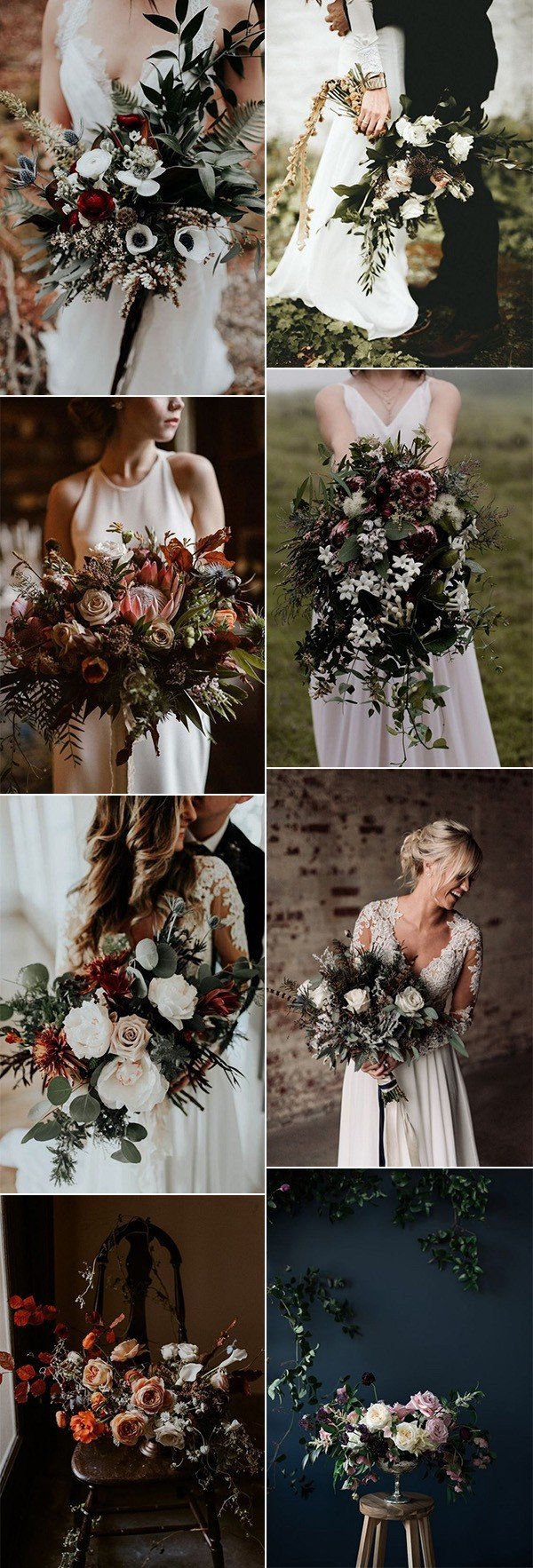 2018 trending moody wedding bouquet ideas