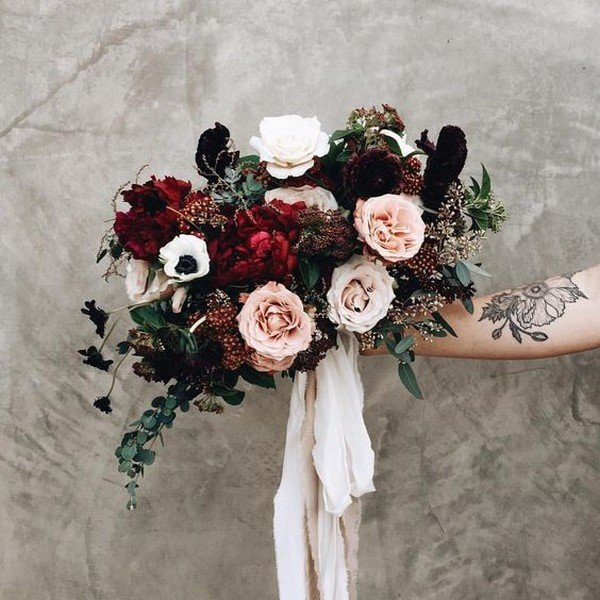 blush and burgundy moody wedding bouquet