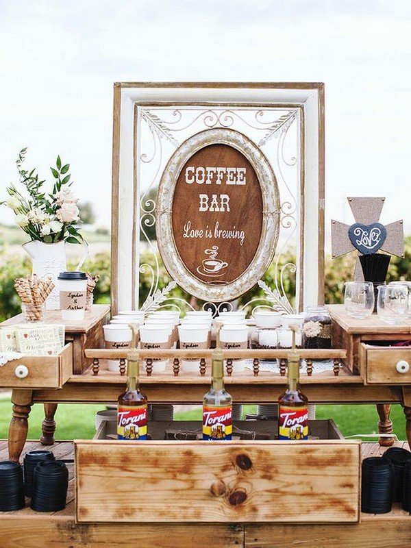 Trending 15 wedding reception bar ideas for 2018 page 2 for Coffee bar at wedding reception