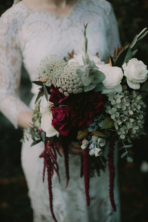 creative burgundy and ivory moody bridal bouquet ideas