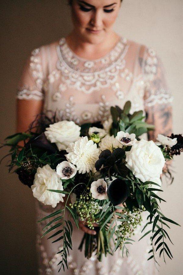 dark moody bridal bouquet ideas with dahlia garden rose