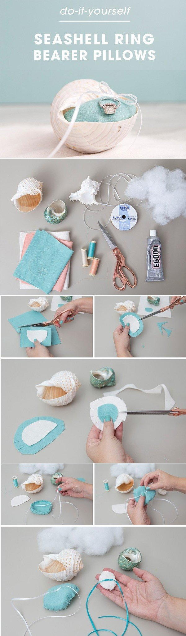 diy beach themed ring bearer pillow wedding ideas