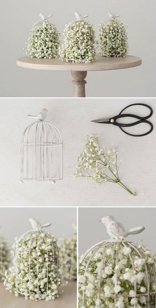 diy birdcage wedding decoration ideas with baby's breath