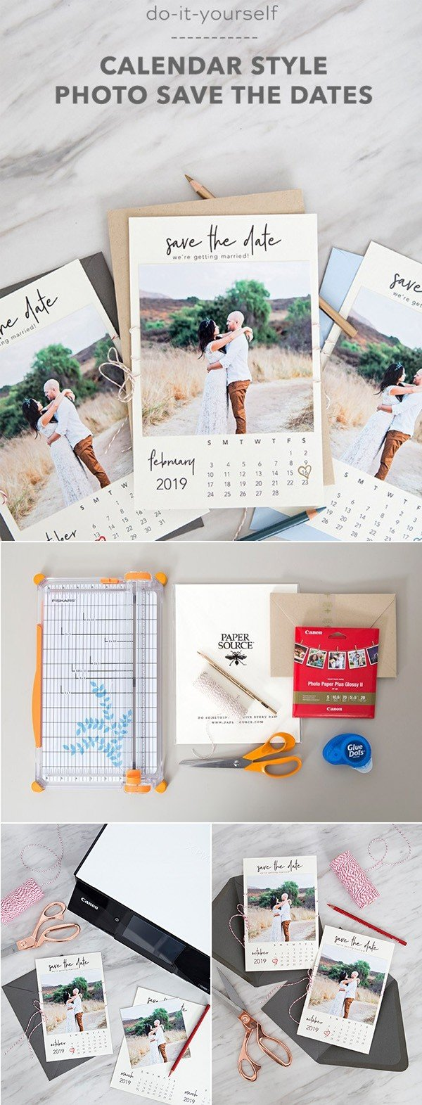 diy calendar style photo save the date for 2018 wedding
