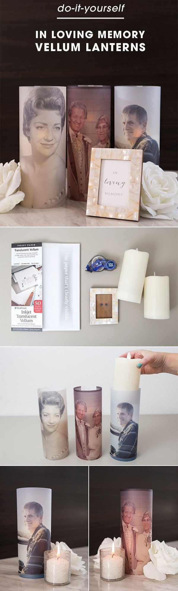 diy in loving memory vellum lanterns for wedding decorations
