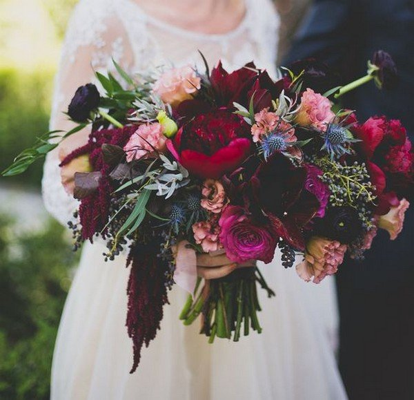 moody fall wedding bouquet with purples and reds