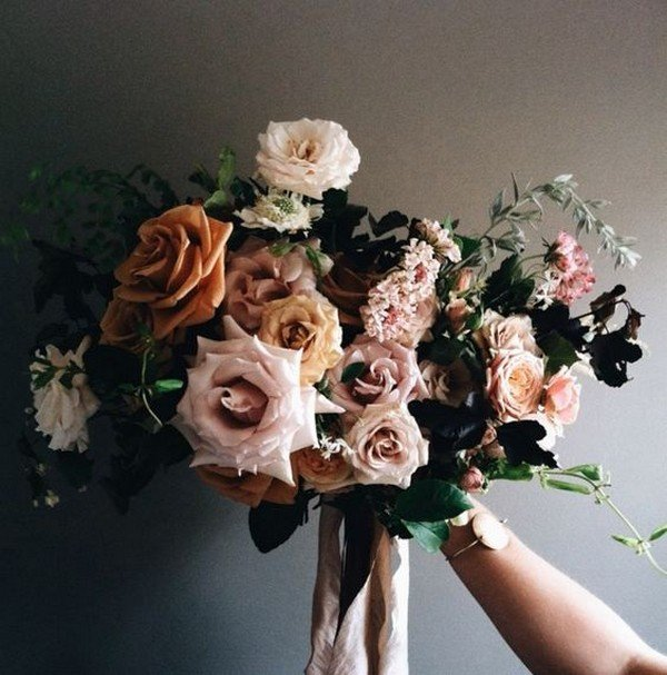 pink and marsala moody bridal bouquet ideas