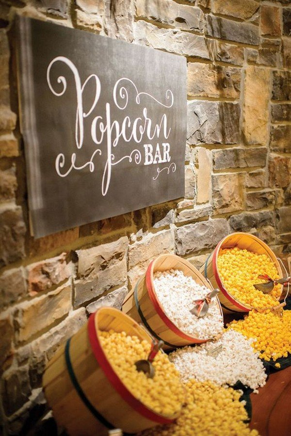 popcorn bar for wedding reception ideas