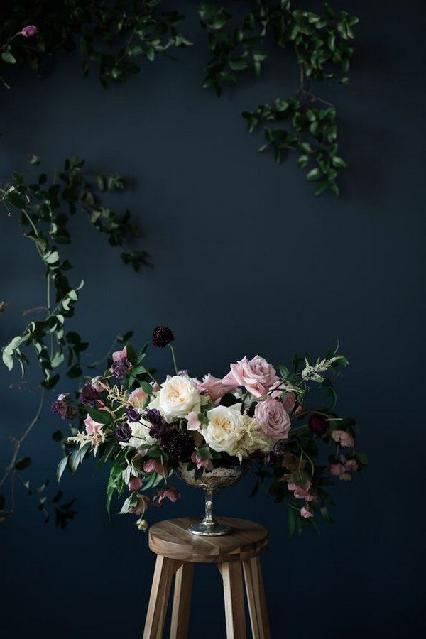 purple and mauve moody wedding bouquet