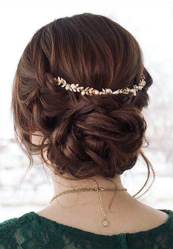 updo wedding hairstyle with headpiece