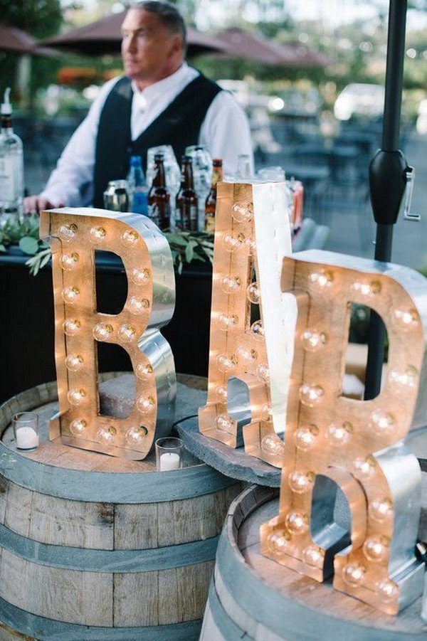wedding reception bar decoration ideas