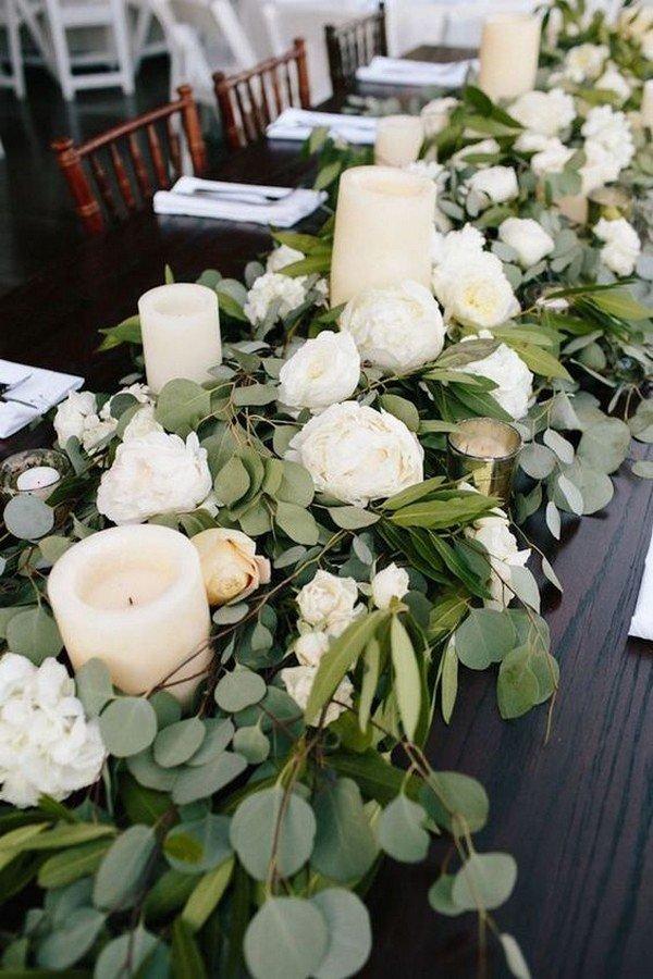 white and green elegant wedding centerpiece ideas
