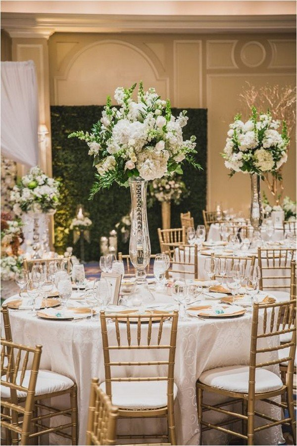white gold and green wedding centerpieces