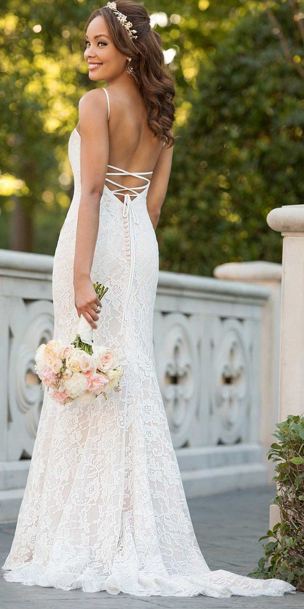 Stella York floral lace wedding dress with open back