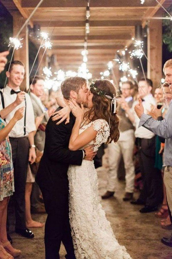 amazing wedding sparklers exit ideas