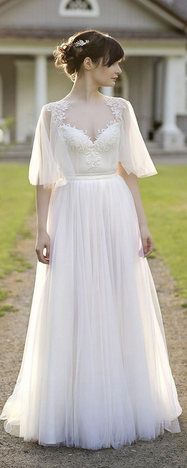 boho two piece wedding dress with flutter sleeves for 2018
