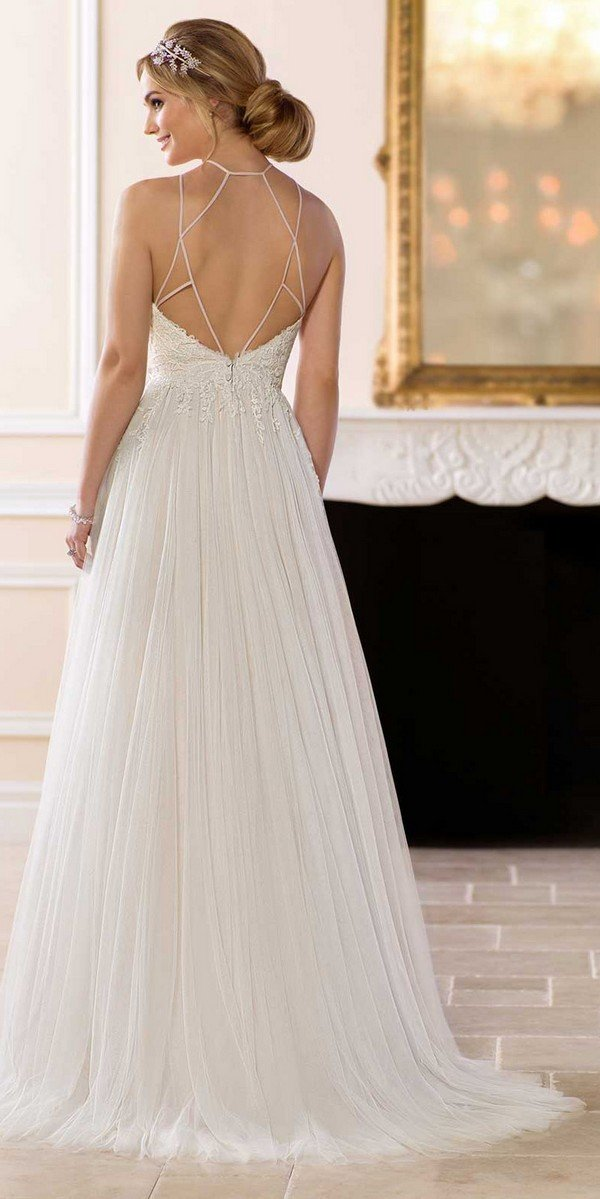 elegant boho lace wedding dress with halter neckline from Stella York-back view