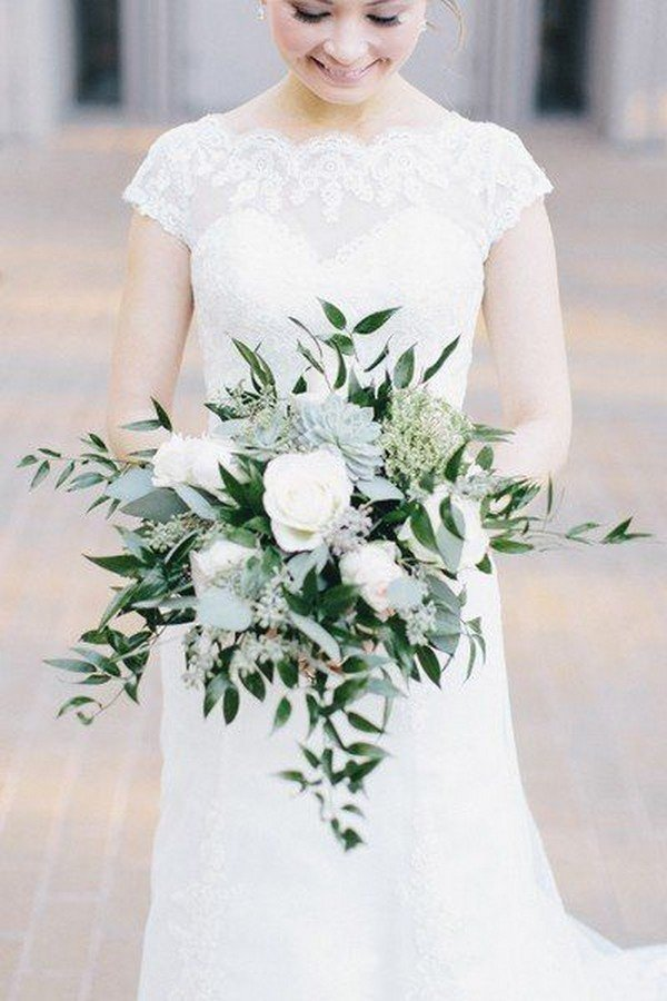 elegant white and green wedding bouquet with succulent